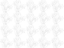 Abstract. A blend of floral design lines and dots and white background color, design / ornament pencil line shape flowers / leaves / plants form a grayish black Stock Photo