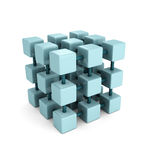 Abstract block cube structure on white background. 3d render illustration Stock Image