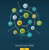 Abstract blockchain, crypto, fintech background. Digital connect system with integrated circles, flat thin line icons. Abstract blockchain, crypto, fintech Stock Images