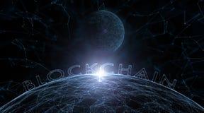 Abstract blockchainwoord met gebiedachtergrond Stock Fotografie