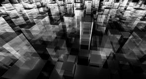 Abstract blocks city. Black and white abstract blocks city vector illustration