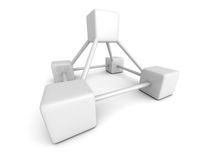 Abstract blocks structure on white background. 3d render illustration Stock Photography