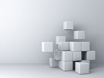 Abstract blocks on white wall background Stock Photo