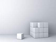 Abstract blocks on white wall background one unique Stock Images