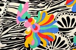 Abstract bloem en cirkelspatroon op stof Stock Foto's