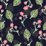 Abstract bloemen en bladeren naadloos patroon, vectorachtergrond Handtekening voor ontwerp van behang, stof, omslag vector illustratie