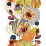 Abstract bloemen en geometrisch naadloos patroon stock illustratie