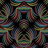 Abstract bloemen kleurrijk naadloos patroon Zwarte vectorbackgrou Stock Fotografie