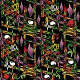 Abstract bloemen kleurrijk naadloos patroon Zwarte vectorbackgrou Stock Foto