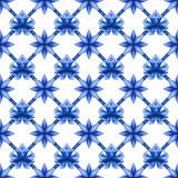 Abstract bloemen naadloos latwerkpatroon, blauw wit gzhelvisnet Stock Afbeeldingen