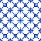 Abstract bloemen naadloos latwerkpatroon, blauwe witte gzhel Royalty-vrije Stock Foto