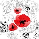 Abstract bloemen naadloos patroon stock illustratie