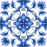 Abstract bloemen naadloos patroon, blauw wit gzhelornament Stock Afbeelding