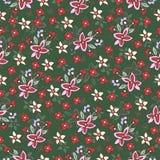 Abstract bloemen naadloos patroon, bloemenachtergrond Fantasie multicolored eenvoudig op een groene achtergrond Voor het ontwerp Royalty-vrije Stock Afbeeldingen