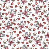 Abstract bloemen naadloos patroon, bloemenachtergrond Fantasie multicolored eenvoudig op een witte achtergrond Voor het ontwerp Royalty-vrije Stock Foto