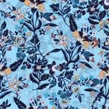 Abstract bloemen naadloos patroon, bloemenachtergrond Fantasie multicolored op een blauwe achtergrond Voor het ontwerp van Royalty-vrije Stock Fotografie