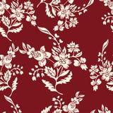 Abstract bloemen naadloos patroon, bloemenachtergrond Fantasiewit op een rode achtergrond Voor het ontwerp van de stof Stock Foto