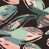 Abstract bloemen naadloos patroon met in hand getrokken texturen Royalty-vrije Stock Foto's