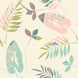 Abstract bloemen naadloos patroon met in hand getrokken texturen Stock Foto