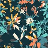 Abstract bloemen naadloos patroon met in hand getrokken texturen Royalty-vrije Stock Foto