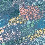 Abstract bloemen naadloos patroon met in hand getrokken texturen Royalty-vrije Stock Fotografie