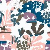 Abstract bloemen naadloos patroon met hand getrokken texturen royalty-vrije illustratie