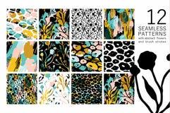 Abstract bloemen naadloos patroon met in hand getrokken texturen Royalty-vrije Stock Afbeeldingen