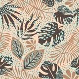 Abstract bloemen naadloos patroon met in hand getrokken texturen Modern abstract ontwerp voor document, dekking, stof Stock Afbeelding
