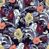 Abstract bloemen naadloos patroon, vector bloemenachtergrond, hand-drawn beeldverhaal Royalty-vrije Stock Afbeeldingen