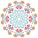 Abstract bloemen rond ornament, mandala met gestileerde bloemen Stock Afbeelding