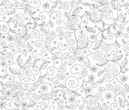 Abstract bloemen vector naadloos patroon met bloemen en bladeren, decoratieve voorgestelde lijnen Stock Afbeeldingen