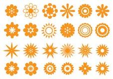Abstract Bloemen VectordieOntwerp in Sinaasappel op Wit wordt geïsoleerd Stock Foto