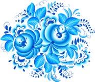 Abstract bloemen vectorelement in gzhelstijl vector illustratie