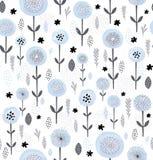 Abstract bloemen vectorpatroon De ronde borstelde Blauwe Bloemen met Zwarte Elementen Zwarte en Grey Branches, Bladeren en Takjes Royalty-vrije Illustratie