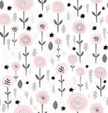 Abstract bloemen vectorpatroon De ronde borstelde Roze Bloemen met Zwarte Elementen Zwarte en Grey Branches, Bladeren en Takjes Royalty-vrije Illustratie