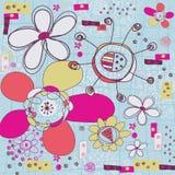 Abstract bloemen vectorpatroon Naadloos sier bloemenpatroon Decoratieve stijlachtergrond met bloemen Grungeachtergrond F Stock Afbeelding