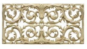 Abstract bloemendiepatroon op hout wordt gesneden over wit wordt geïsoleerd Royalty-vrije Stock Afbeelding