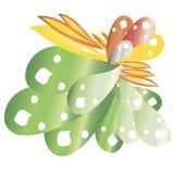 Abstract bloemenelement, groene, oranje, gele gradiënt, leuk ontwerpelement voor kunst, voor Web Stock Afbeeldingen