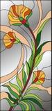 Abstract bloemengebrandschilderd glas, mozaïekpatroon met bloemen en lichtgrijze achtergrond vector illustratie