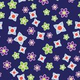 Abstract bloemenkleuren naadloos patroon blauw BG vector illustratie