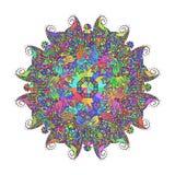 Abstract bloemenkrabbelpatroon als achtergrond Een cirkelornament Royalty-vrije Stock Fotografie