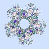 Abstract bloemenkrabbelpatroon als achtergrond Een cirkelornament Royalty-vrije Stock Afbeeldingen