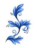 Abstract bloemenontwerpelement, blauw geïsoleerd gzhelornament Stock Afbeeldingen