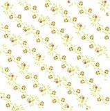 Abstract bloemenpatroon op een diagonaal Lichtgroene en bruine bladeren en vogels, rode bloemen op wit, de zomer Stock Afbeeldingen