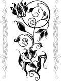 Abstract bloemensilhouet stock illustratie