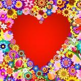 Abstract bloemenvalentijnskaartframe Stock Fotografie