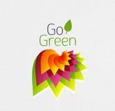 Abstract bloemontwerp. Ga Groen concept Stock Afbeeldingen