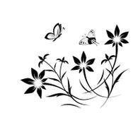 Abstract bloempatroon met vlinder Stock Foto's