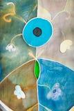 Abstract bloempatroon op de sjaal van de batikzijde Royalty-vrije Stock Foto's