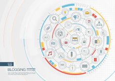 Abstract blogging background. Digital connect system with integrated circles, color flat icons. Royalty Free Stock Photo